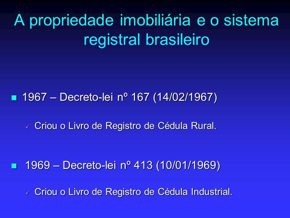 A propriedade imobiliária e o sistema registral brasileiro 1967 – Decreto-lei nº 167 (14/02/1967) 1967 – Decreto-lei nº 167 (14/02/1967) Criou o Livro