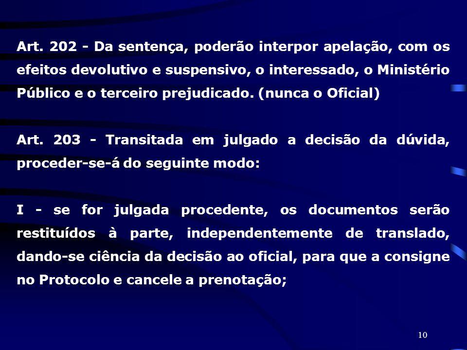 10 Art. 202 - Da sentença, poderão interpor apelação, com os efeitos devolutivo e suspensivo, o interessado, o Ministério Público e o terceiro prejudi