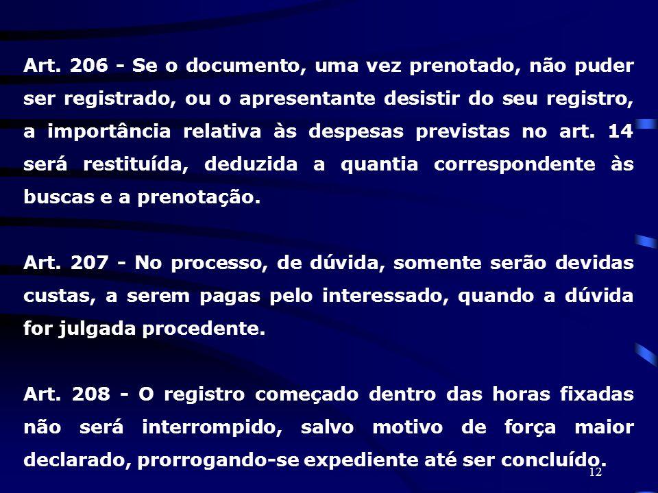12 Art. 206 - Se o documento, uma vez prenotado, não puder ser registrado, ou o apresentante desistir do seu registro, a importância relativa às despe