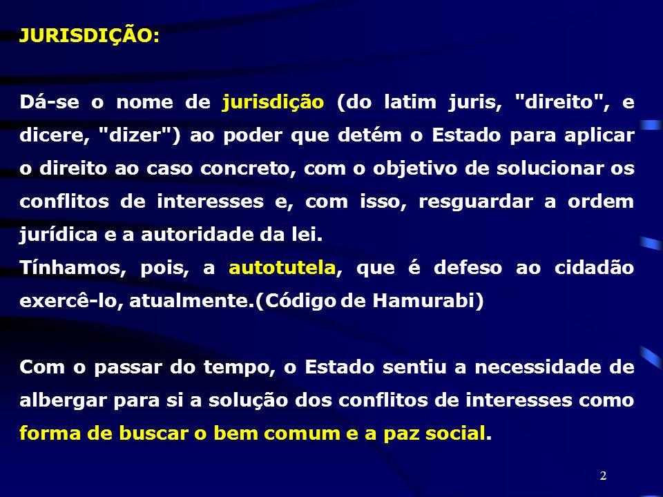 2 JURISDIÇÃO: Dá-se o nome de jurisdição (do latim juris,
