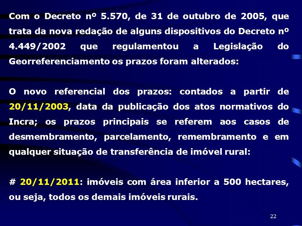 22 Com o Decreto nº 5.570, de 31 de outubro de 2005, que trata da nova redação de alguns dispositivos do Decreto nº 4.449/2002 que regulamentou a Legi