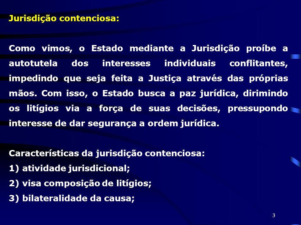 3 Jurisdição contenciosa: Como vimos, o Estado mediante a Jurisdição proíbe a autotutela dos interesses individuais conflitantes, impedindo que seja f