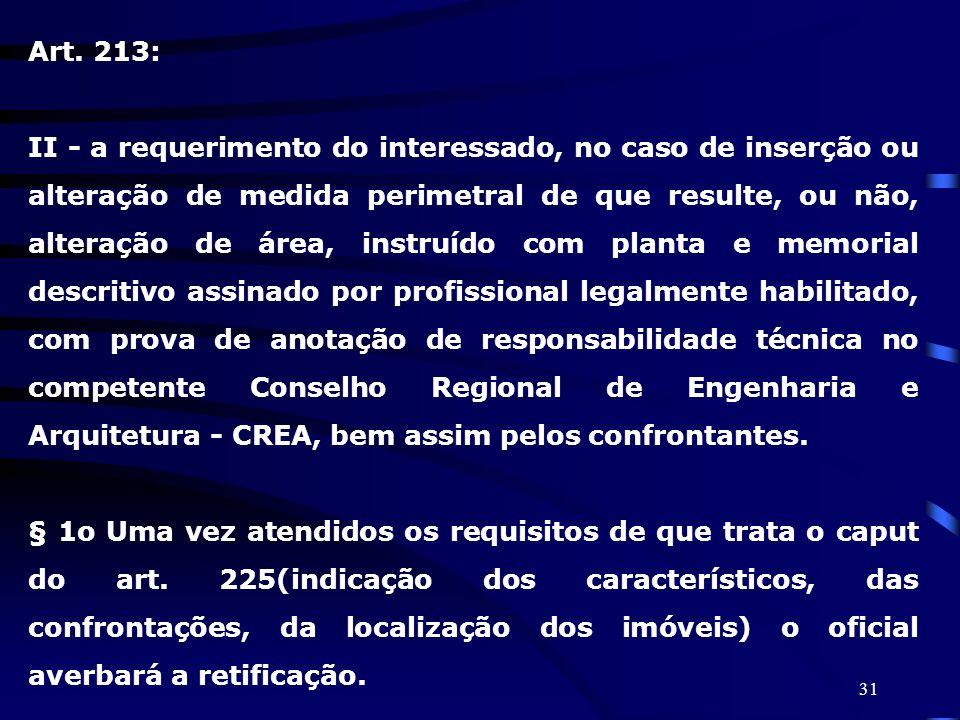 31 Art. 213: II - a requerimento do interessado, no caso de inserção ou alteração de medida perimetral de que resulte, ou não, alteração de área, inst