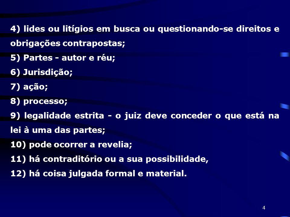4 4) lides ou litígios em busca ou questionando-se direitos e obrigações contrapostas; 5) Partes - autor e réu; 6) Jurisdição; 7) ação; 8) processo; 9