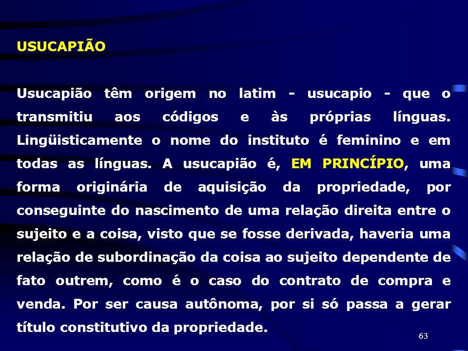 63 USUCAPIÃO Usucapião têm origem no latim - usucapio - que o transmitiu aos códigos e às próprias línguas. Lingüisticamente o nome do instituto é fem
