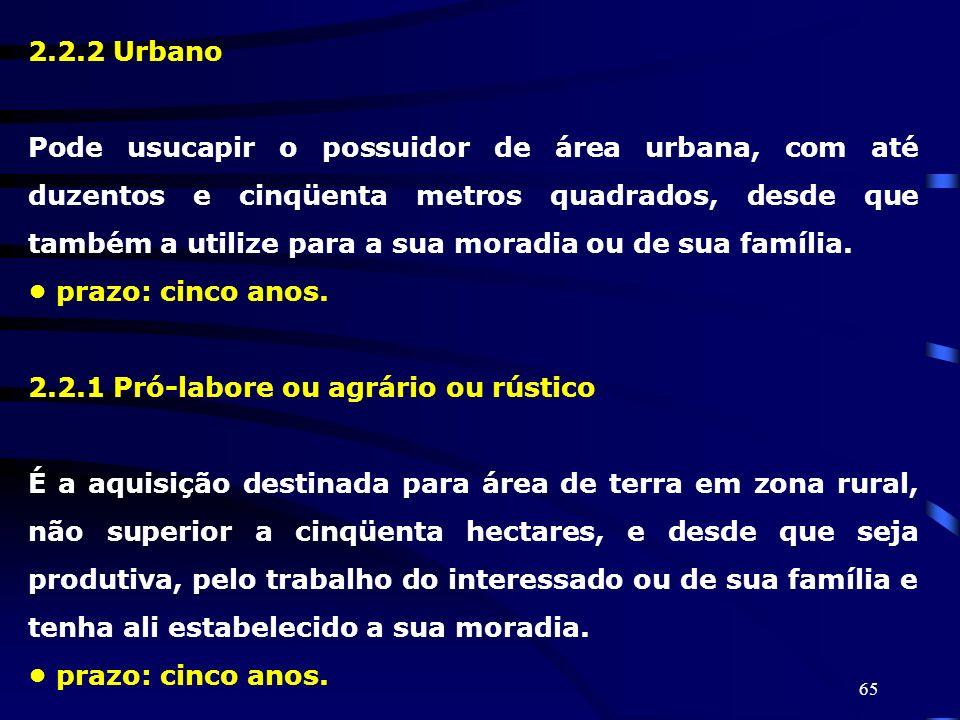 65 2.2.2 Urbano Pode usucapir o possuidor de área urbana, com até duzentos e cinqüenta metros quadrados, desde que também a utilize para a sua moradia