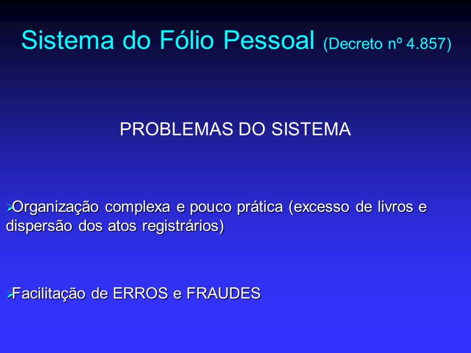 Sistema do Fólio Real (Lei nº 6.015) Revogou o Decreto nº 4.857/39 e é a atual LEI DE REGISTROS PÚBLICOS FINALIDADE (art.