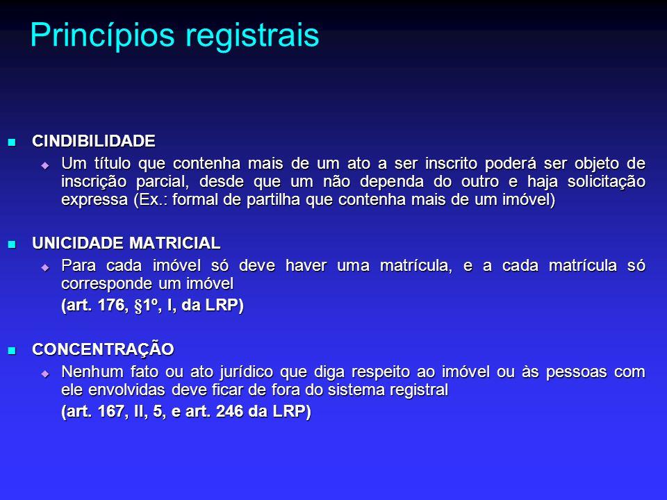 Princípios registrais ESPECIALIDADE ESPECIALIDADE Para que a inscrição possa ser efetuada, tanto a descrição do imóvel (especialidade objetiva) quanto a do sujeito do direito (especialidade subjetiva) devem guardar perfeita correlação com o registro anterior Para que a inscrição possa ser efetuada, tanto a descrição do imóvel (especialidade objetiva) quanto a do sujeito do direito (especialidade subjetiva) devem guardar perfeita correlação com o registro anterior (arts.