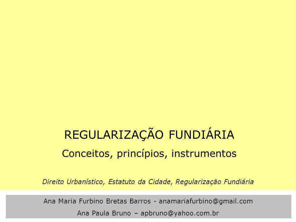 REGULARIZAÇÃO FUNDIÁRIA Conceitos, princípios, instrumentos Direito Urbanístico, Estatuto da Cidade, Regularização Fundiária Ana Maria Furbino Bretas