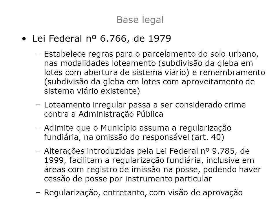 Base legal Lei Federal nº 6.766, de 1979 –Estabelece regras para o parcelamento do solo urbano, nas modalidades loteamento (subdivisão da gleba em lot