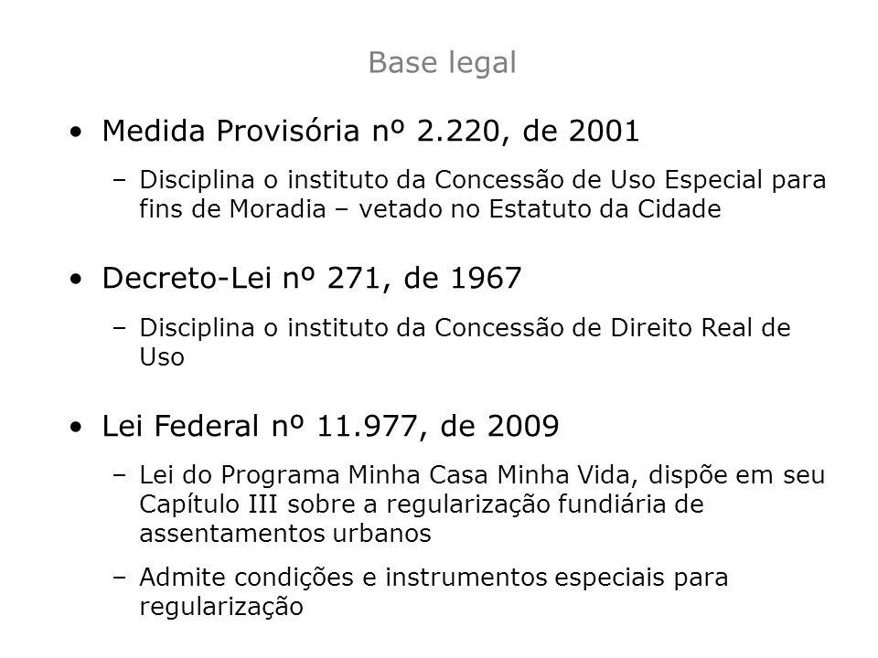 Base legal Medida Provisória nº 2.220, de 2001 –Disciplina o instituto da Concessão de Uso Especial para fins de Moradia – vetado no Estatuto da Cidad