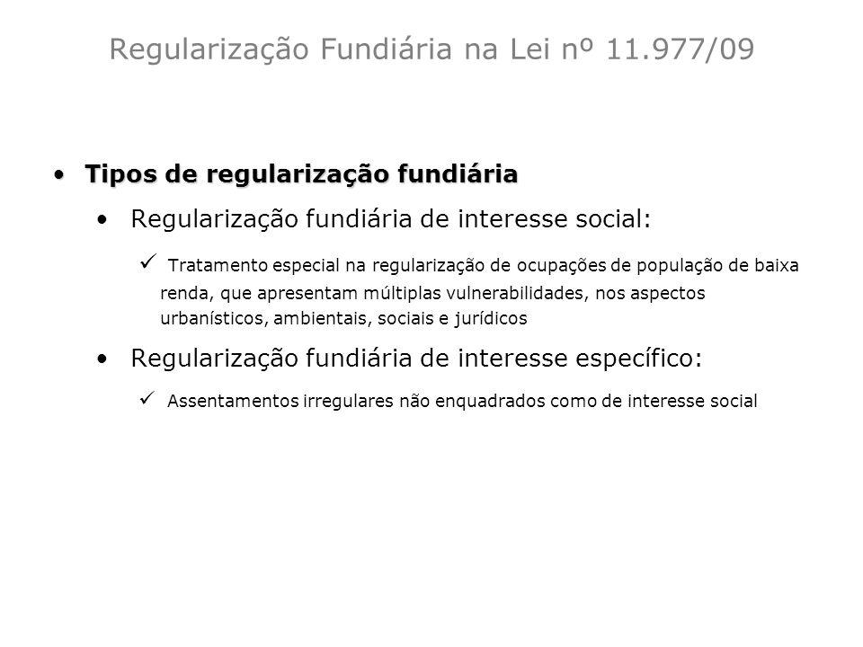 Regularização Fundiária na Lei nº 11.977/09 Tipos de regularização fundiáriaTipos de regularização fundiária Regularização fundiária de interesse soci