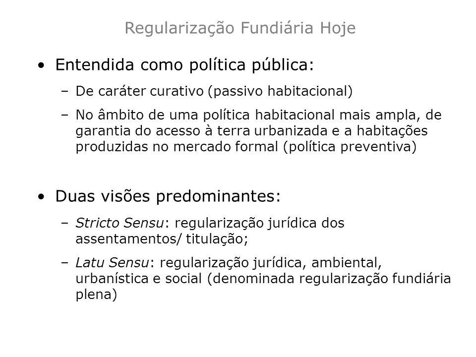 Regularização Fundiária Hoje Entendida como política pública: –De caráter curativo (passivo habitacional) –No âmbito de uma política habitacional mais