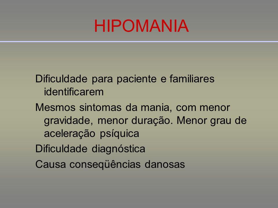 HIPOMANIA Dificuldade para paciente e familiares identificarem Mesmos sintomas da mania, com menor gravidade, menor duração. Menor grau de aceleração
