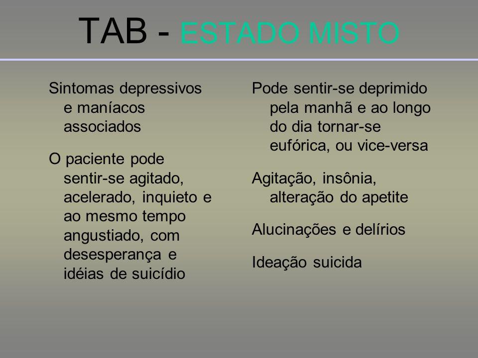TAB - ESTADO MISTO Sintomas depressivos e maníacos associados O paciente pode sentir-se agitado, acelerado, inquieto e ao mesmo tempo angustiado, com