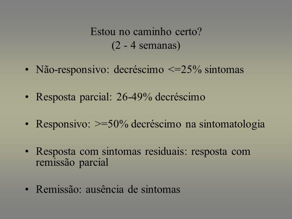 Estou no caminho certo? (2 - 4 semanas) Não-responsivo: decréscimo <=25% sintomas Resposta parcial: 26-49% decréscimo Responsivo: >=50% decréscimo na