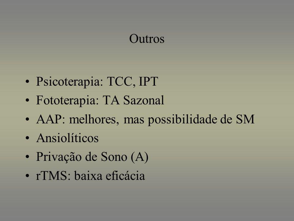 Outros Psicoterapia: TCC, IPT Fototerapia: TA Sazonal AAP: melhores, mas possibilidade de SM Ansiolíticos Privação de Sono (A) rTMS: baixa eficácia