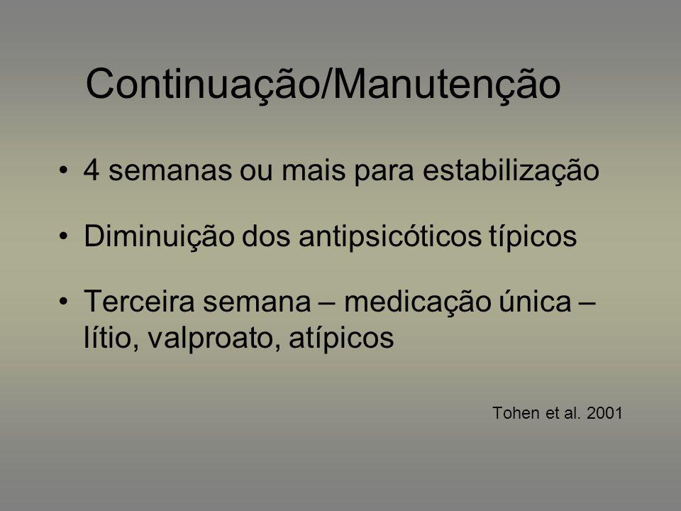 Continuação/Manutenção 4 semanas ou mais para estabilização Diminuição dos antipsicóticos típicos Terceira semana – medicação única – lítio, valproato