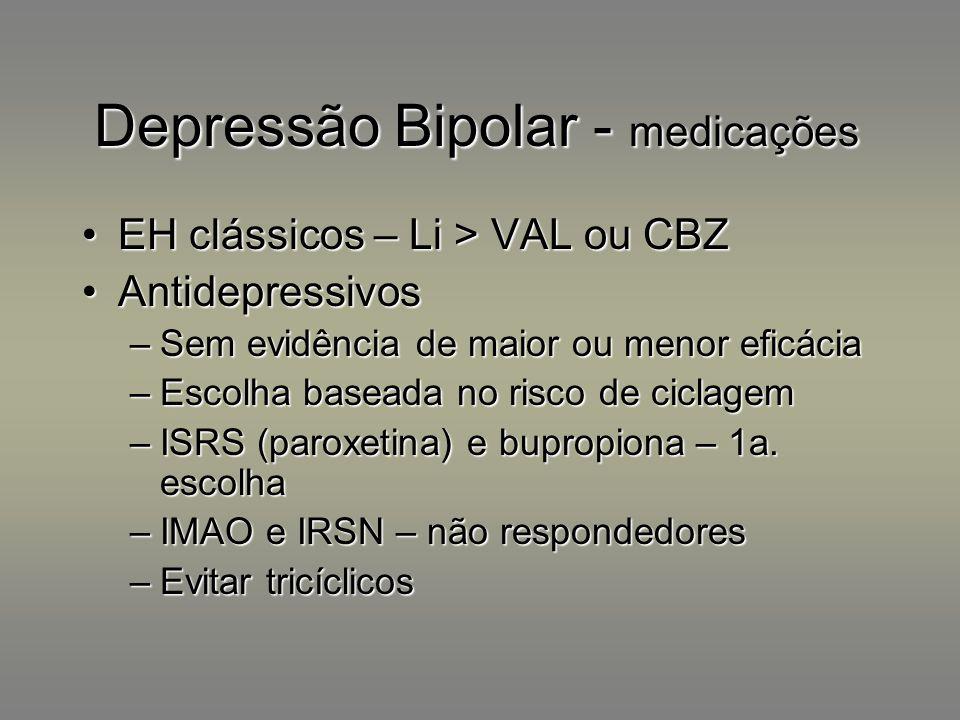 Depressão Bipolar - medicações EH clássicos – Li > VAL ou CBZEH clássicos – Li > VAL ou CBZ AntidepressivosAntidepressivos –Sem evidência de maior ou