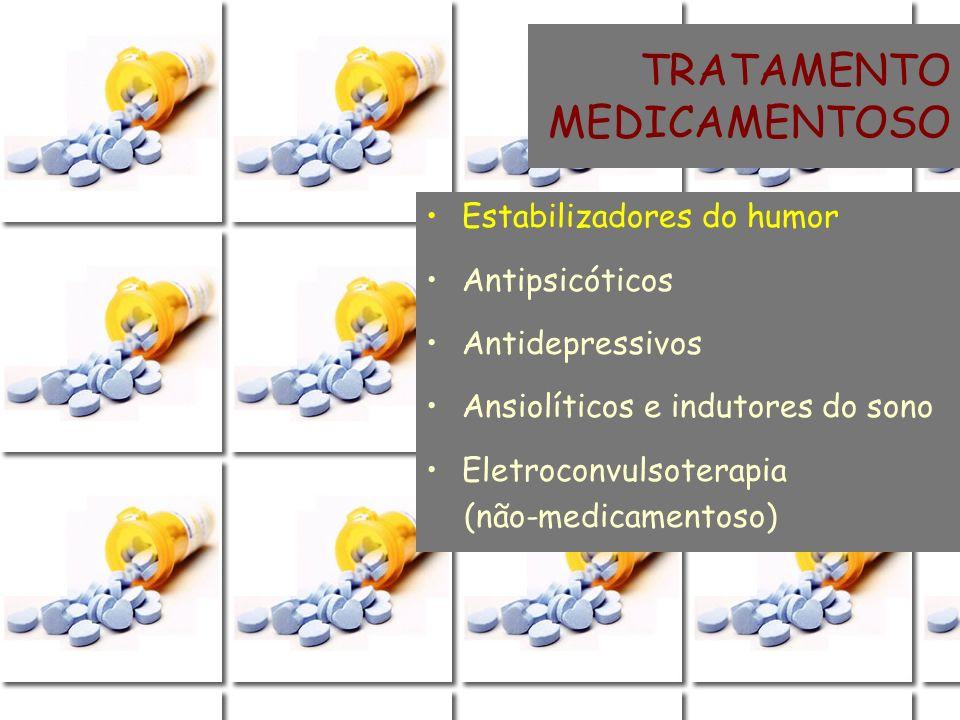 TRATAMENTO MEDICAMENTOSO Estabilizadores do humor Antipsicóticos Antidepressivos Ansiolíticos e indutores do sono Eletroconvulsoterapia (não-medicamen