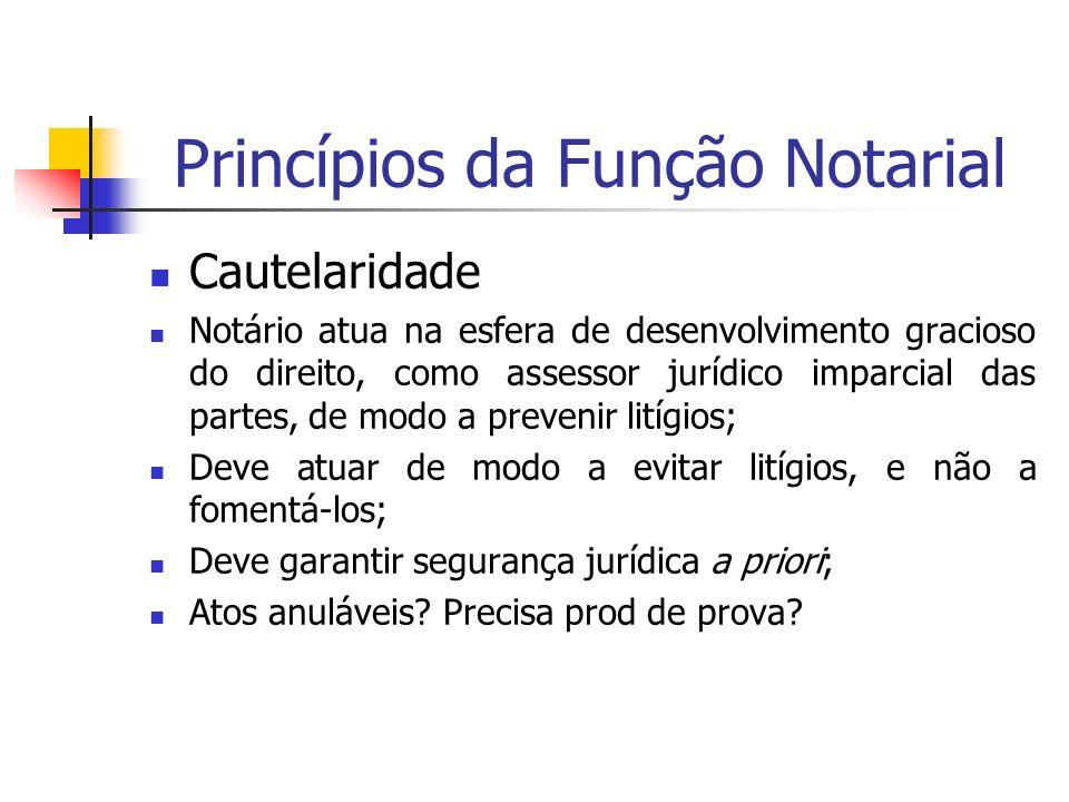 Princípios da Função Notarial Cautelaridade Notário atua na esfera de desenvolvimento gracioso do direito, como assessor jurídico imparcial das partes