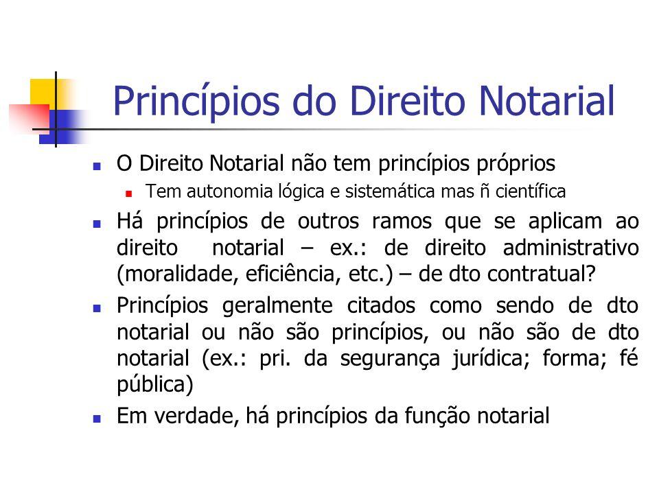 Princípios do Direito Notarial O Direito Notarial não tem princípios próprios Tem autonomia lógica e sistemática mas ñ científica Há princípios de out