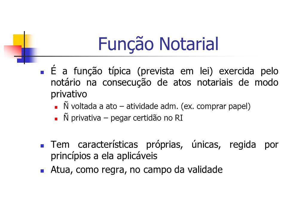 Função Notarial É a função típica (prevista em lei) exercida pelo notário na consecução de atos notariais de modo privativo Ñ voltada a ato – atividad