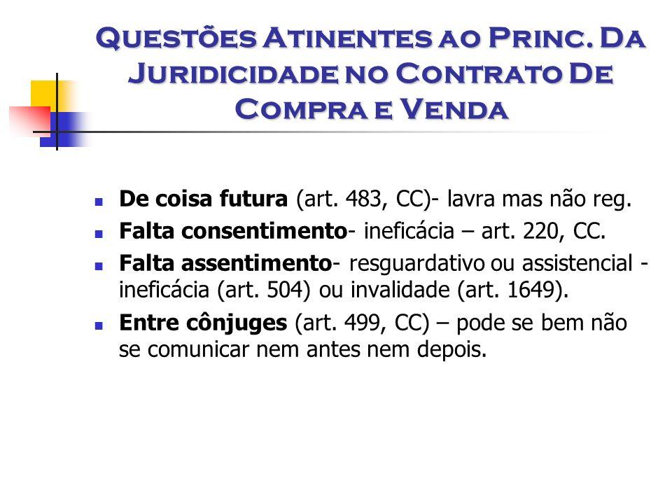 Questões Atinentes ao Princ. Da Juridicidade no Contrato De Compra e Venda De coisa futura (art. 483, CC)- lavra mas não reg. Falta consentimento- ine