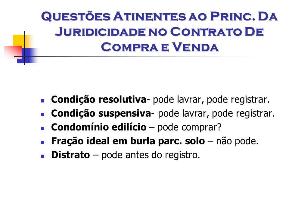 Questões Atinentes ao Princ. Da Juridicidade no Contrato De Compra e Venda Condição resolutiva- pode lavrar, pode registrar. Condição suspensiva- pode