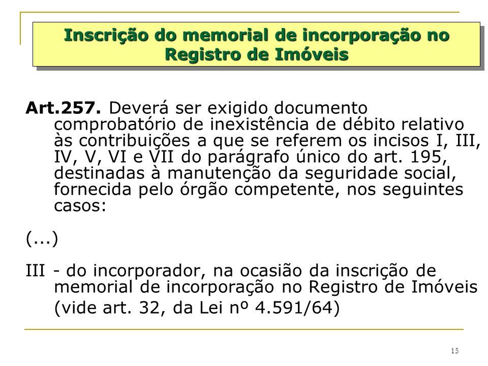 15 Art.257. Deverá ser exigido documento comprobatório de inexistência de débito relativo às contribuições a que se referem os incisos I, III, IV, V,