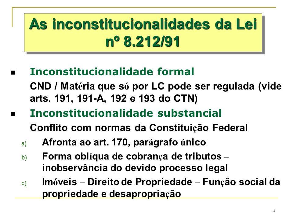 4 Inconstitucionalidade formal CND / Mat é ria que s ó por LC pode ser regulada (vide arts. 191, 191-A, 192 e 193 do CTN) Inconstitucionalidade substa