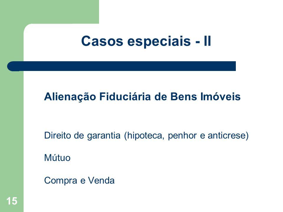 15 Casos especiais - II Alienação Fiduciária de Bens Imóveis Direito de garantia (hipoteca, penhor e anticrese) Mútuo Compra e Venda