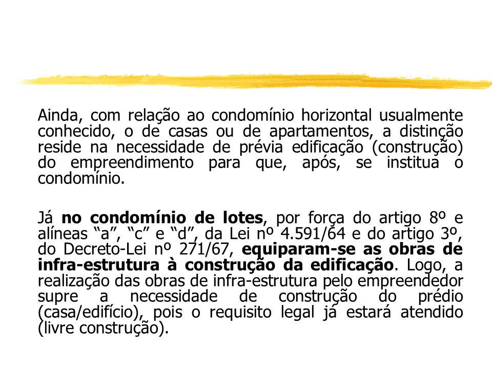 Embora apresentando alguma similitude com o loteamento fechado, com este não se confunde : yNo condomínio de lotes não há a necessidade da transferênc
