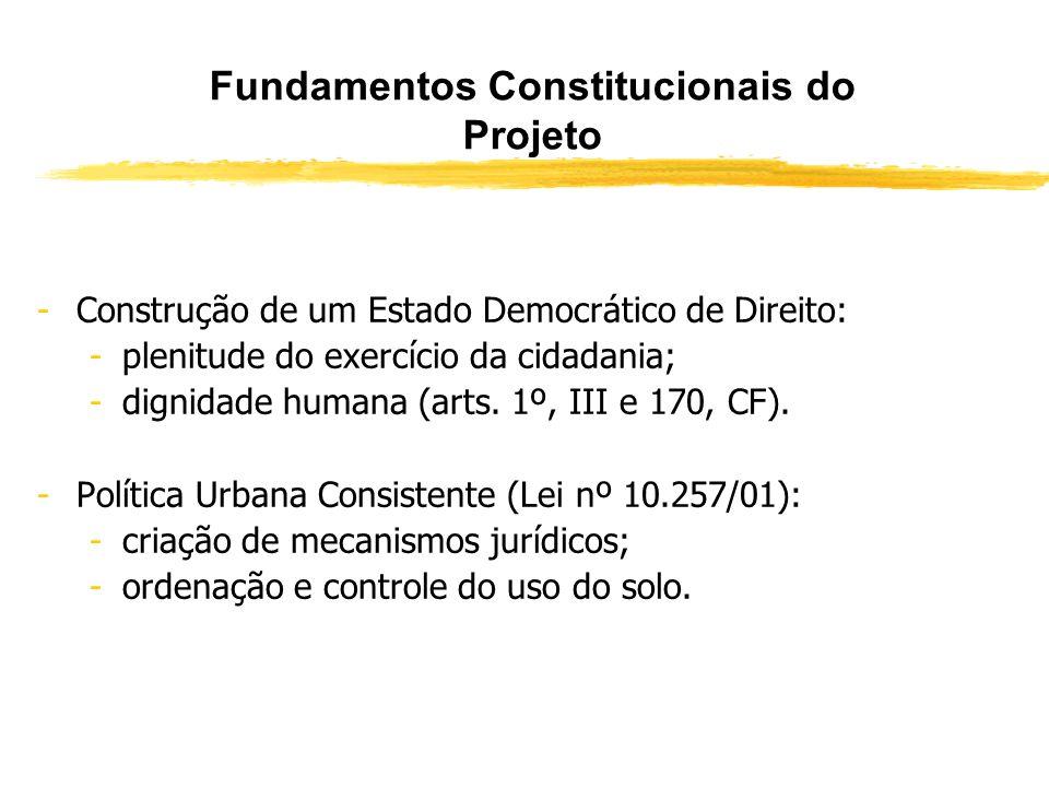 Fundamentos Constitucionais do Projeto -Função Social da Propriedade (art. 5º, XXIII, CF: A propriedade atenderá a sua função social): -a propriedade