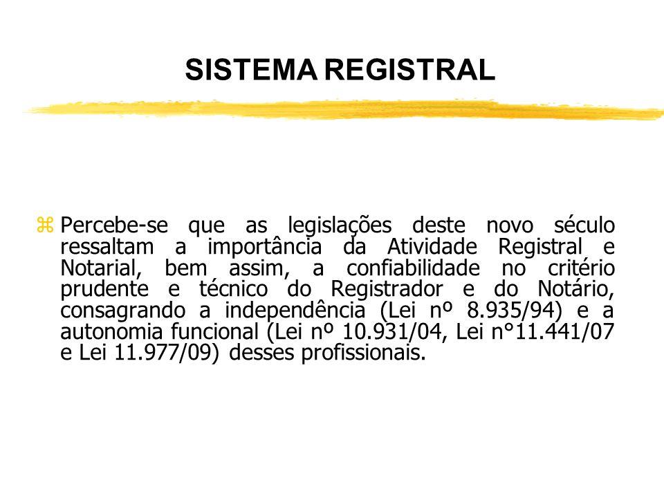 SISTEMA REGISTRAL zAtualmente, o Sistema Registral está recebendo a consideração que sempre mereceu, pelos fins a que se destina: xde constituir; x de