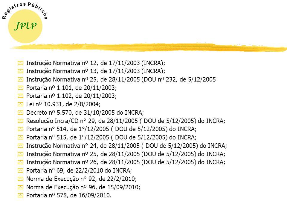 LEGISLAÇÃO y Lei nº 10.267, de 28/08/2001; yDecreto nº 4.449, de 30/10/2002; yInstruções Normativas nº s 8 e 9, de 13/11/2002 (INCRA); yInstrução Norm