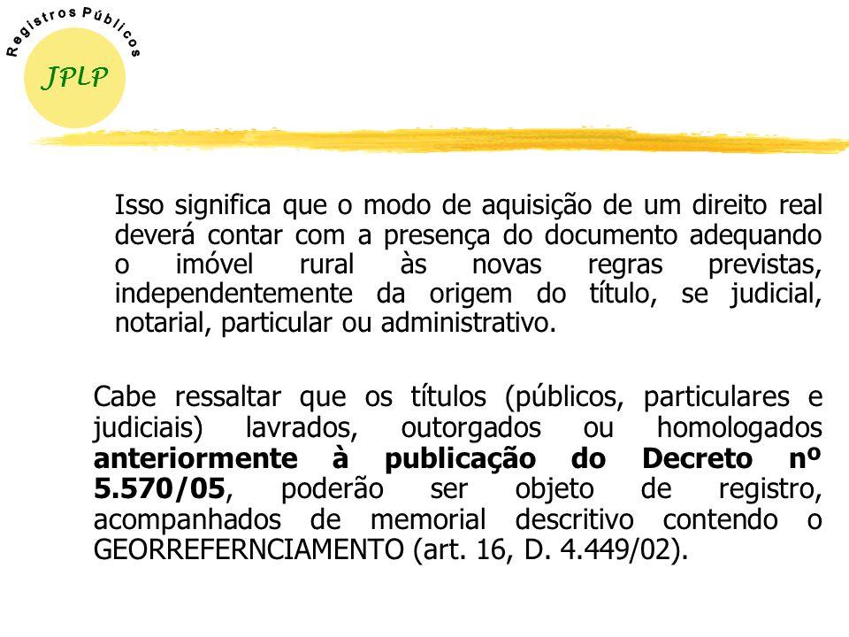 INTEGRAÇÃO DO GEORREFERENCIAMENTO NOS TÍTULOS REGISTRÁVEIS zRealizado o levantamento, o mesmo deverá ser encaminhado ao INCRA para certificação, a fim