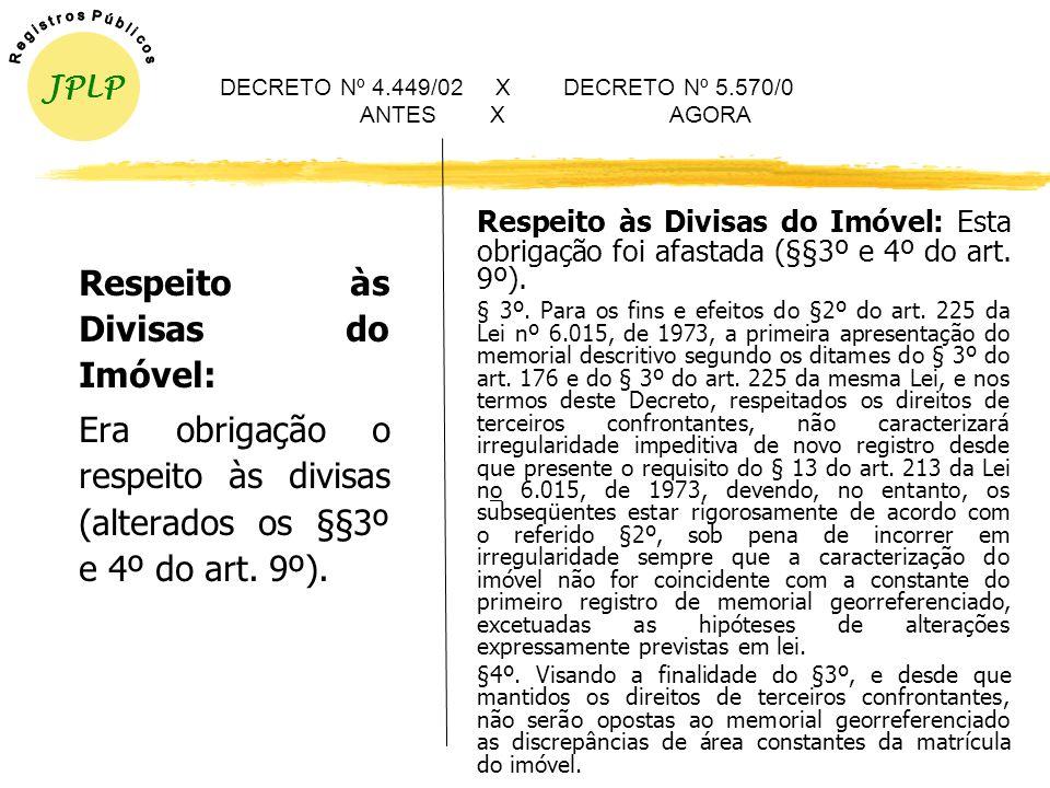 A nova redação do §4º do artigo 9º do Decreto nº 4.449/02 abandonou a idéia de que para permitir o GEORREFERENCIAMENTO era obrigatória a observância d