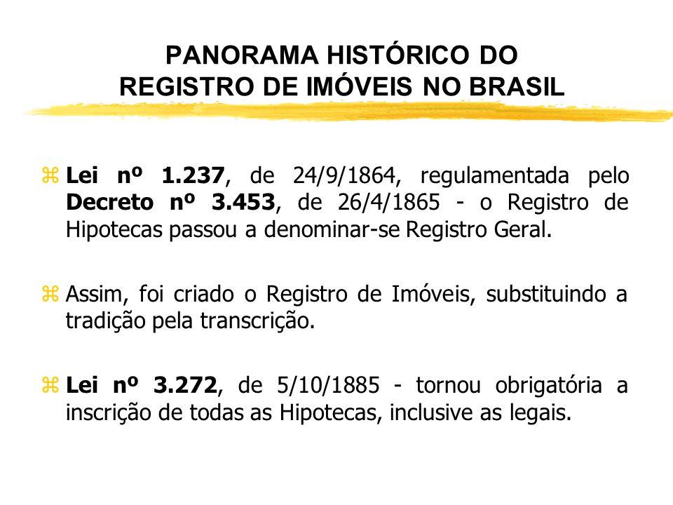 PANORAMA HISTÓRICO DO REGISTRO DE IMÓVEIS NO BRASIL zPosteriormente, veio a Lei 601, de 18.09.1850 e seu Regulamento 1.318, de 30.01.1854, quando a po