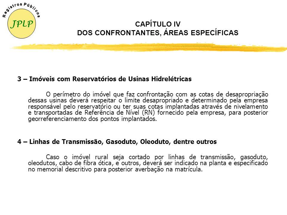 CAPÍTULO IV DOS CONFRONTANTES, ÁREAS ESPECÍFICAS 1 – Imóvel com Rodovias (Estradas) O levantamento topográfico georreferenciado de imóvel que confront
