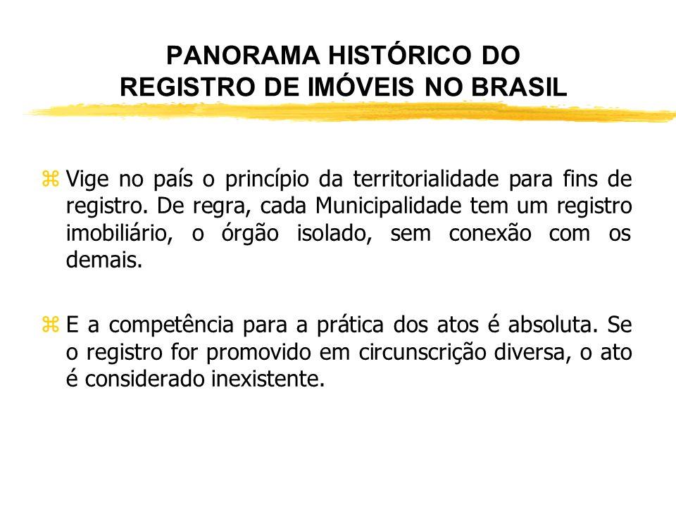 PANORAMA HISTÓRICO DO REGISTRO DE IMÓVEIS NO BRASIL zAtualmente, a lei que regulamenta o Registro Imobiliário é a Lei 6.015, de 31.12.1973, alterada p