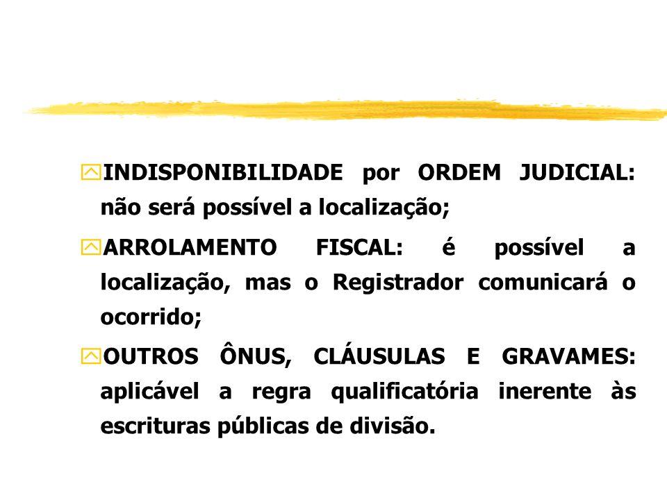 CAUTELAS DO REGISTRADOR (art. 535) yHIPOTECA: dispensa anuência do credor, mas o Registrador comunicará o ocorrido; yPENHORA COMUM: dispensa autorizaç