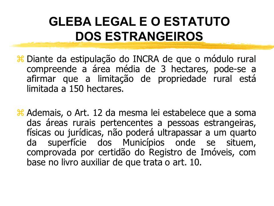 GLEBA LEGAL E O ESTATUTO DOS ESTRANGEIROS zRegulamentação Legal: CF, art. 190; Lei n° 5.709/71). zPara ser contemplada por esse instituo, a pessoa est