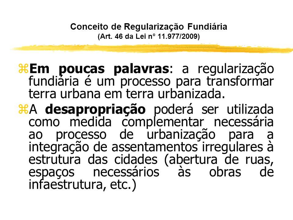 Conceito de Regularização Fundiária (Art. 46 da Lei n° 11.977/2009) zA Regularização Fundiária consiste no conjunto de medidas jurídicas, urbanísticas