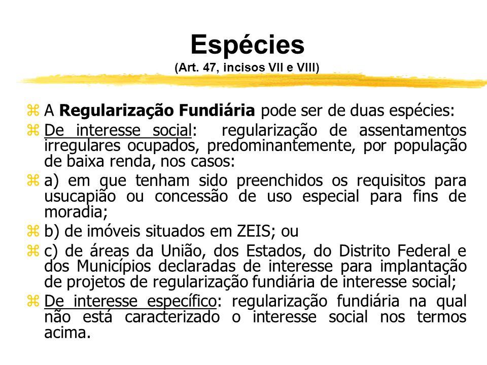 Abrangência (Art. 47, VI) zA regularização fundiária prevista pela Lei n° 11.977, de 07.07.2009, aplica-se a assentamentos irregulares, assim consider