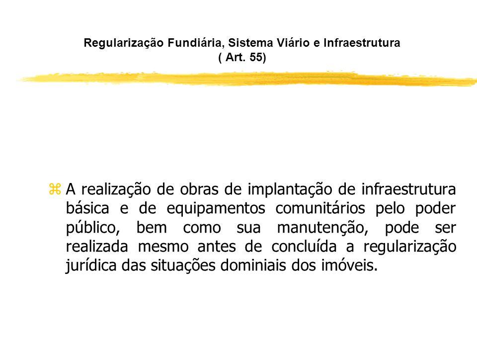 Regularização Fundiária, Sistema Viário e Infraestrutura ( Art. 55) zNa regularização fundiária de interesse social, caberá ao poder público, diretame