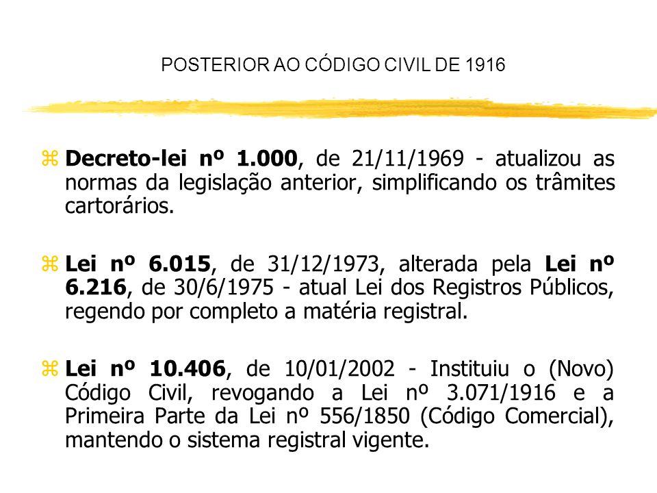 POSTERIOR AO CÓDIGO CIVIL DE 1916 zLei nº 3.071, de 1/1/1916 - instituiu o Código Civil Brasileiro, que previu um Sistema de Registro Comum, mas obrig