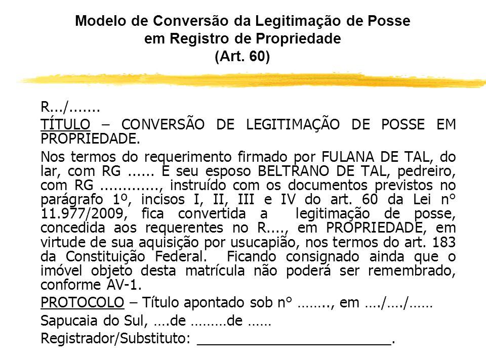 Conversão do título de posse em título de propriedade (Art. 60, parágrafos 1º e 2º) zII – declaração de que não possui outro imóvel urbano ou rural; z