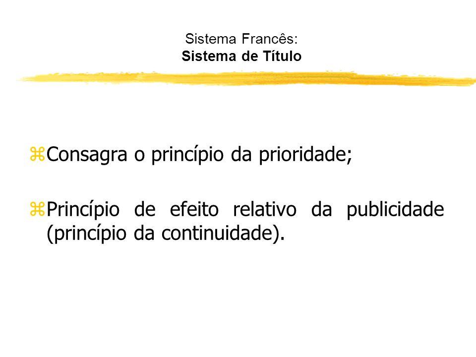 Sistema Francês: Sistema de Título zNão vigora neste sistema, o princípio da legalidade, pois não se faz um exame prévio do documento; zCom efeito, nã