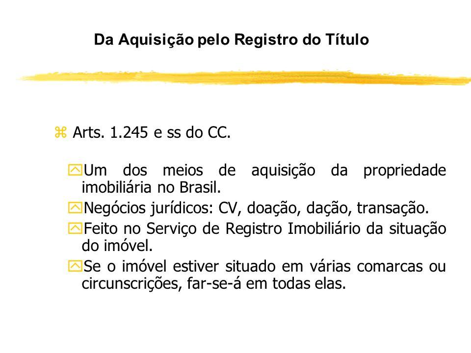 Da Aquisição pelo Registro do Título zArt. 1.245 do Código Civil. zNo Brasil para ser proprietário de um imóvel é necessário o binômio: Título + Modo